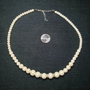 Off-White Gradient Faux Pearl Crystal Necklace